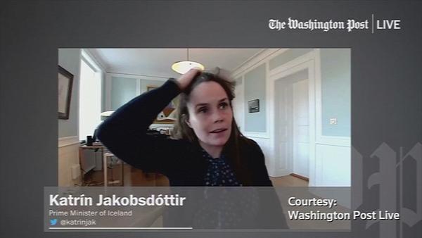 Katrín Jakobsdóttir was taking part in the interview withthe Washington Post when the interview struck