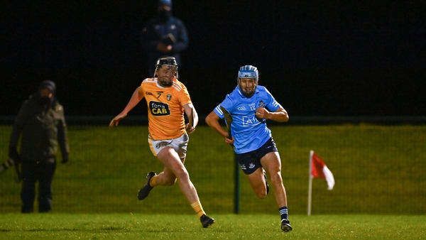 Dublin's Dara Purcell goes past the challenge of Antrims Declan McCloskey in the U20 Leinster hurling championship