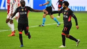 Sadio Mane (L) and Mo Salah celebrate Liverpoo's goal