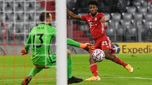 Kingsley Coman scores his second and Bayern's fourth