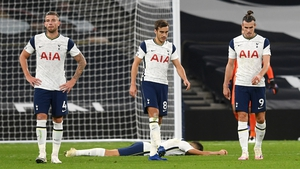 Tottenham players react after the collapse against West Ham