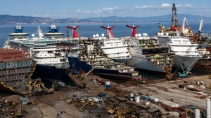 Five luxury cruise ships are seen being broken down for scrap metal at the Aliaga ship recycling port in Turkey