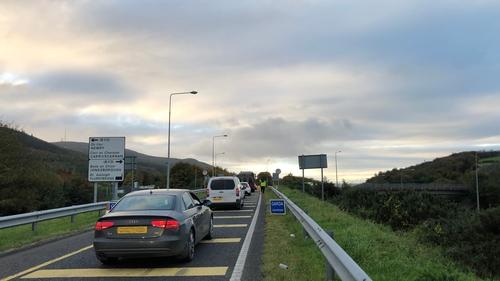 A garda checkpoint on the main Belfast to Dublin motorway