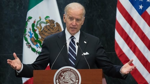 Former US vice-president Joe Biden speaking in Mexico City in February 2016 after a meeting with then Mexican president Enrique Pena Nieto. Photo: Daniel Cardenas/Anadolu Agency/Getty Images