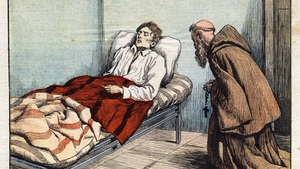 Terence MacSwiney on his deathbed, as depicted in the French publication Le Petit Journal