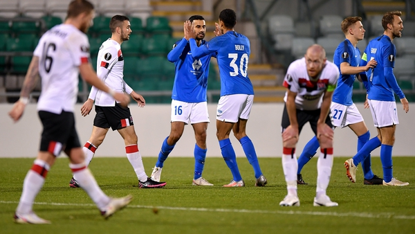 Etzaz Hussain of Molde FK, left, is congratulated by team-mate Mathis Bolly