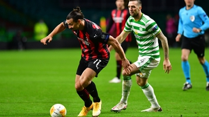 AC Milan's Zlatan Ibrahimovic looks to break past Celtic's Shane Duffy
