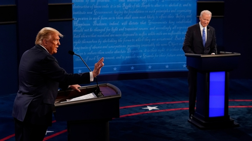 Joe Biden and Donald Trump in their last face-to-face debate before 3 November
