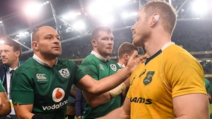 Ireland captain Rory Best (L) with David Pocock back in 2016