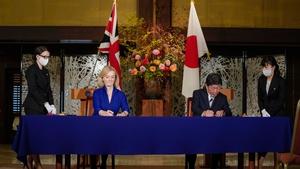 British Trade Secretary Liz Truss and Japanese Foreign Minister Toshimitsu Motegi in Tokyo today