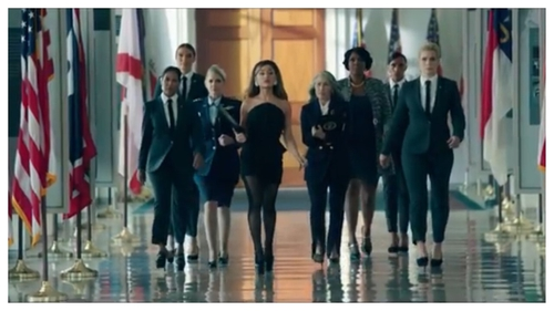 Grande can be seen sweeping through the corridors of the White House in her new music video