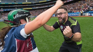 Westmeath manager Johnny Greville celebrates after the game with Sandra McGrath