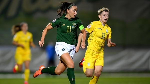 Ireland's Katie McCabe in action against Ukraine in October. Photo: Stephen McCarthy/ Sportsfile