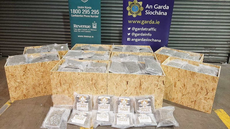 A             picture of the drugs seizure was posted on the An Garda             Síochána Twitter account