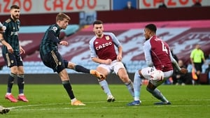 Patrick Bamford scores his and Leeds United's second goal