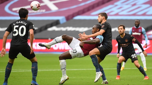 Michail Antonio sets himself up for his spectacular goal