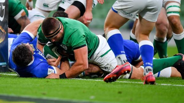 CJ Stander scores Ireland's first try