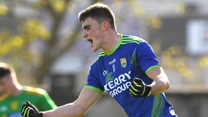 Seán O'Shea celebrates his goal against Donegal as Kerry won the Division 1 title