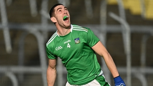 Limerick's Paul Maher celebrates after his side earned promotion