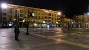 The deserted Main Square in Leon, Spain, at the 10pm curfew last night