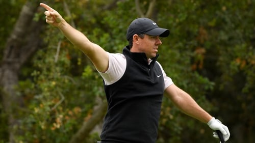 Rory McIlroy indicates a wayward shot at the Zozo Championship