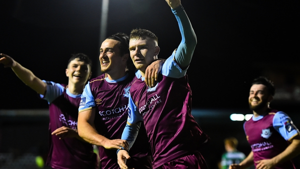 Mark Doyle of Drogheda United celebrates his goal against Shamrock Rovers II last month