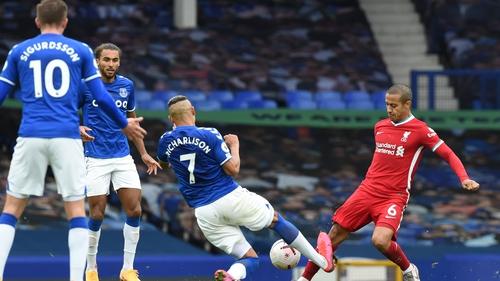 Everton's Richarlison make a tackle that put Thiago Alcantara on the sidelines