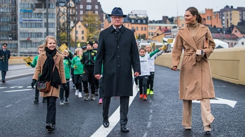 Swedish royals Princess Estelle, King Carl Gustaf and Princess Victoria at the Slussbron bridge, Stockholm after its inauguration