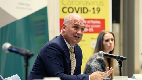 Dr Tony Holohan and Dr Heather Burns at a press briefing on Covid-19 this evening (Pic: RollingNews.ie)