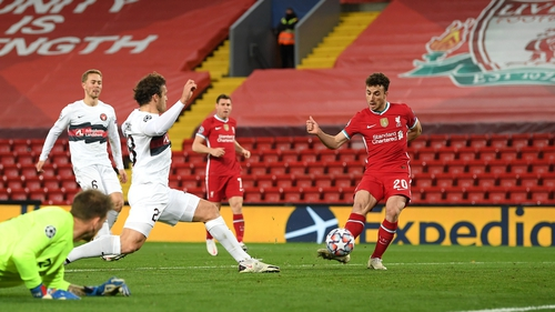 Diogo Jota breaks the deadlock in the second half at Anfield
