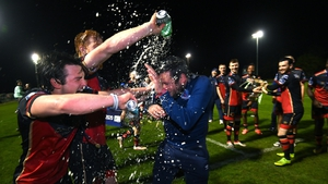 Drogheda players made sure their manager was right in the thick of the celebrations