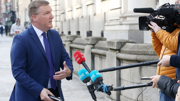 Michael McGrath speaking to the media on the way into today's Cabinet meeting