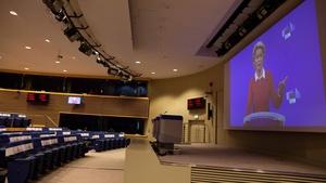 Ursula von der Leyen spoke via video conference into a press room at EU headquarters in Brussels