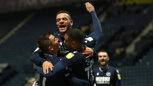 Kenneth Zohore celebrates scoring Millwall's first goal