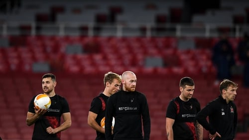 Dundalk players trained at the Emirates Stadium on Wednesday evening