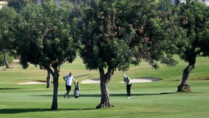 Cormac Sharvin in action on the sixth hole at Aphrodite Hills