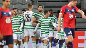 Celtic players celebrate with goalscorer Mohamed Elyounossi