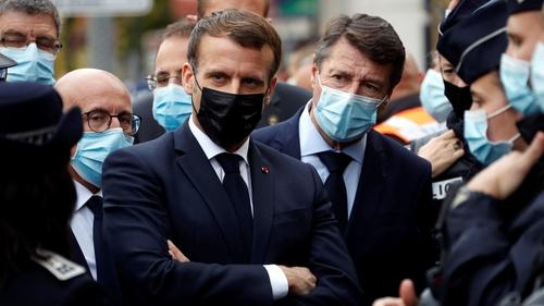 French President Emmanuel Macron and Nice Mayor Christian Estrosi visited the scene in Nice