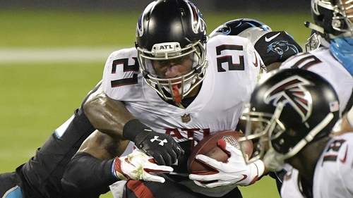 Todd Gurley (21) of the Atlanta Falcons on the charge against the Carolina Panthers