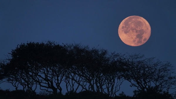 A full harvest moon seen over Old Northumberland in England earlier this month