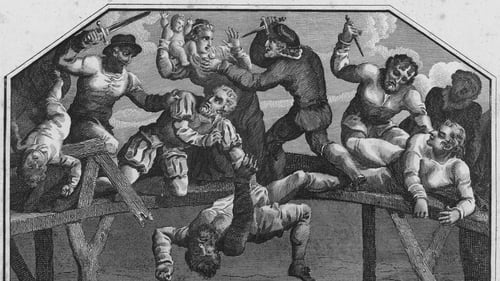 A drawing showing Protestant settlers attacked by Catholics on Portadown Bridge during the 1641 Irish Rebellion. Image: Hulton Archive/Getty Images