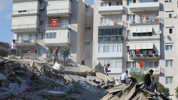 Search and rescue works in the debris of a building in Bayrakli district of Izmir