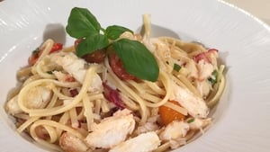 Martin Shanahan's crab pasta with cherry tomatoes and basil.