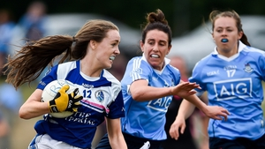 Catherine Dolan (L) in action for Cavan