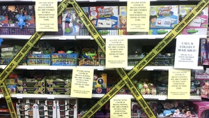 Shelves of toys, Christmas gifts and Halloween decorations blocked off in More 4 Less in Swords (Pic: RollingNews.ie)