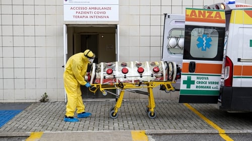 A patient arrives at a ICU for Covid-19 cases, in the San Filippo Neri hospital in Rome, Italy