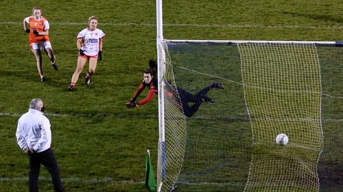 Aoife McCoy of Armagh fires home her side's first goal