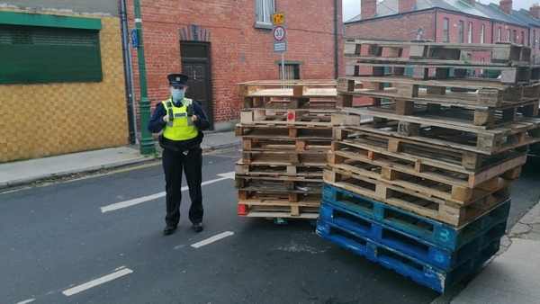 Pallets seized by Mountjoy gardaí as part of Operation Tombola, which aims to tackle fireworks and bonfires around Halloween (Pic: RollingNews.ie)