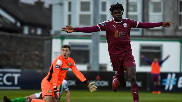 Wilson Waweru celebrates the winning goal at the Carlisle Grounds