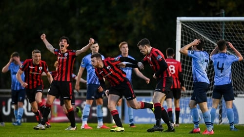 Joe Gorman celebrates the first of two equalisers for Longford Town
